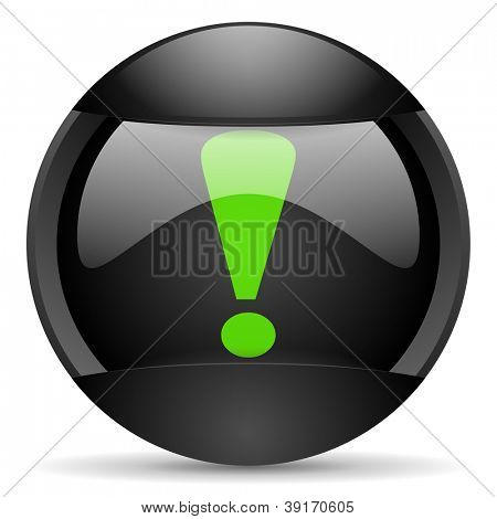 exclamation sign round black web icon on white background