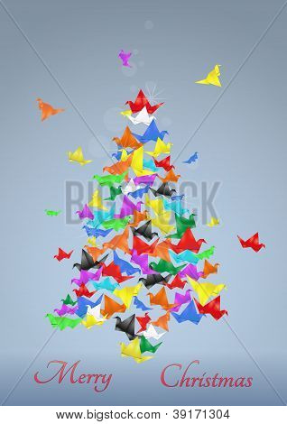 Paper Birds Christmas Tree