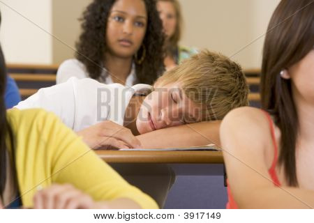 Student In Class Sleeping (Selective Focus)