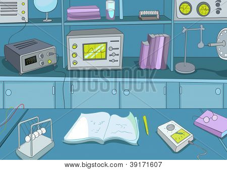 Physics Laboratory. Cartoon Background. Vector Illustration EPS 10.