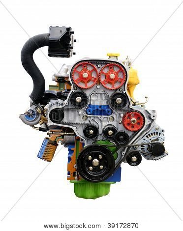 Car engine showing the  isolated on white.
