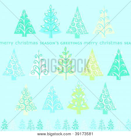 Cute retro abstract Christmas trees card