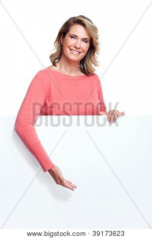 Senior woman with a banner. Isolated over white background.
