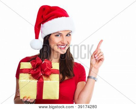 Happy Santa Christmas woman with bags isolated on white background.