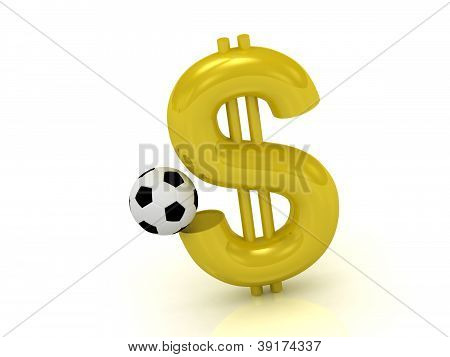 Dollar With The Ball In Soccer
