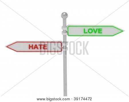"Signs With Red ""hate"" And Green ""love"""