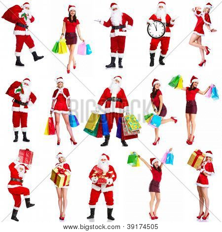Christmas santa claus and woman with shopping bags isolated on white background.