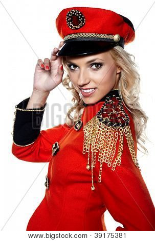 young beautiful woman in  red glamour  jacket