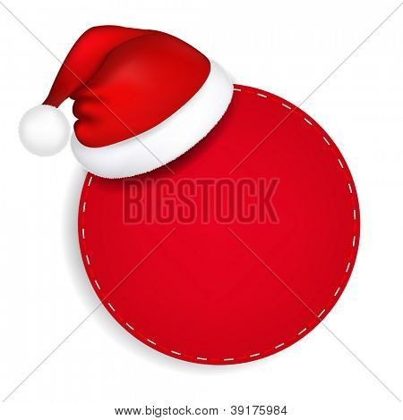 Red Speech Bubble With Santa Hat With Gradient Mesh, Vector Illustration