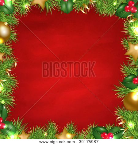Vintage Red Background With Christmas Border With Gradient Mesh, Vector Illustration