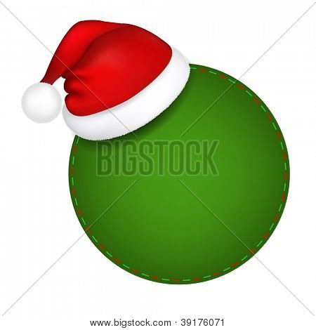 Green Speech Bubble With Santa Hat With Gradient Mesh, Vector Illustration