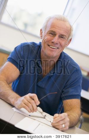 Adult Student In Class Smiling