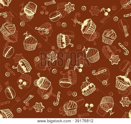 Christmas honey-cakes seamless pattern