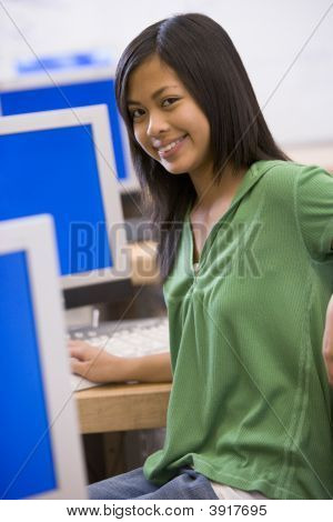 Female Student In Computer Class
