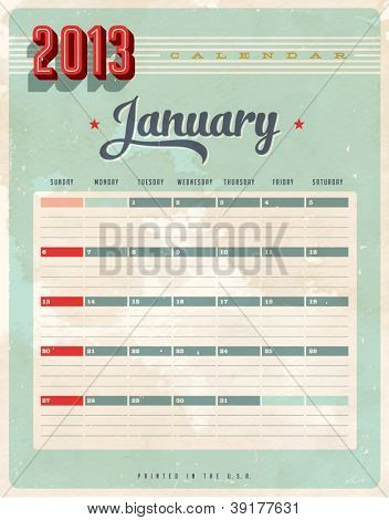 Vintage 2013 Calendar - January - Vector EPS10. Grunge effects can be easily removed for a brand new, clean sign.