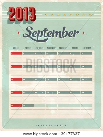 Vintage 2013 Calendar - September - Vector EPS10. Grunge effects can be easily removed for a brand new, clean sign.