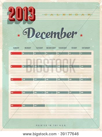 Vintage 2013 Calendar - December - Vector EPS10. Grunge effects can be easily removed for a brand new, clean sign.