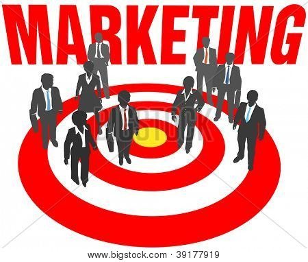 Corporate business people aim at targeted marketing goal