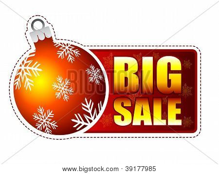 Big Sale Label With Christmas Ball And Snowflakes