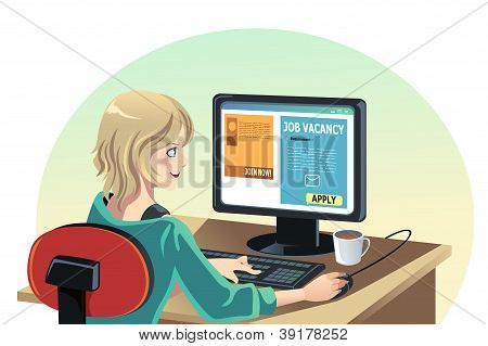 Mulher à procura de um emprego