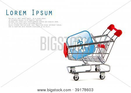 Shopping cart with medical  glossy button