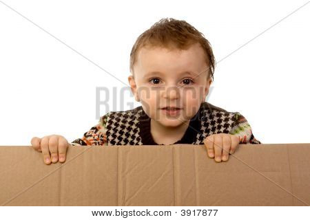 Boy Holding  Cardboard Box