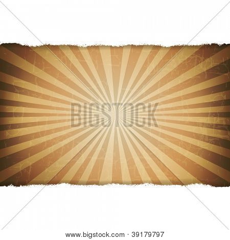 Rip White Paper With Sunburst Old Background With Gradient Mesh, Vector Illustration
