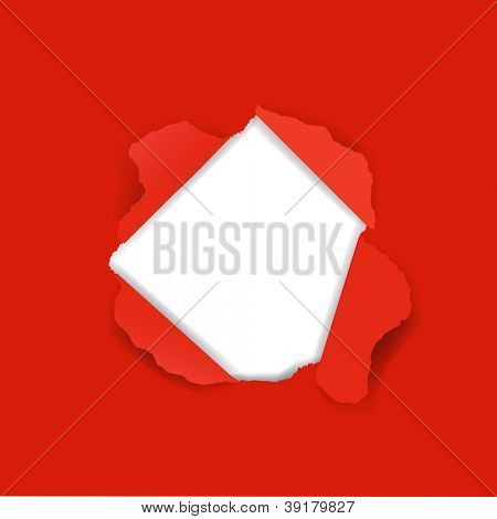 Red Paper Torn With Gradient Mesh, Vector Illustration