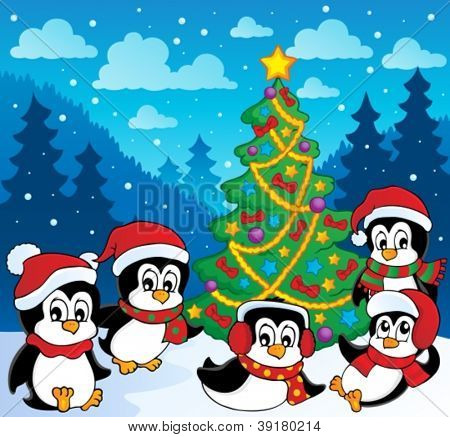 Winter theme with penguins 3 - vector illustration.
