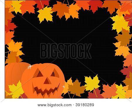 Halloween Pumpkin Leaves Frame