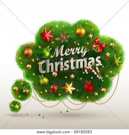 Christmas Bubble for speech - fir tree. Vector illustration.