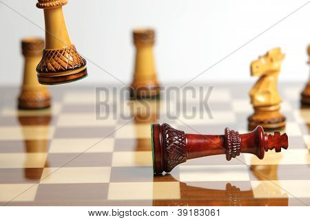 Checkmate With Wooden Chess Pieces