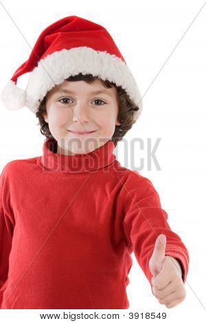 Adorable Boy With Red Hat Of Christmas Saying O.K.
