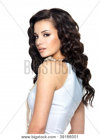 Portrait Of  Young Woman With Beauty Long Hair.