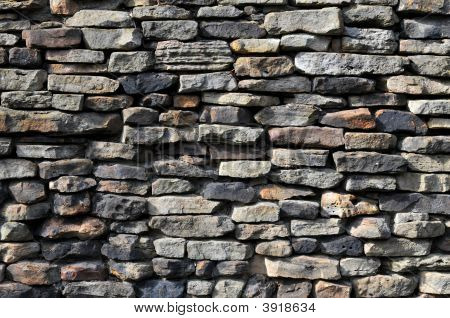 Stone Wall With Different Stone Colors