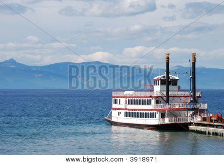 Paddle Wheel Boat On Lake