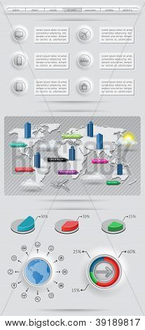 Infographics elements with world map