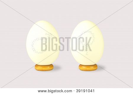 Two Eggs With Male And Female Symbols