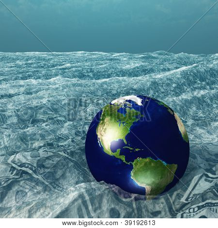 Earth floats in US Currency sea