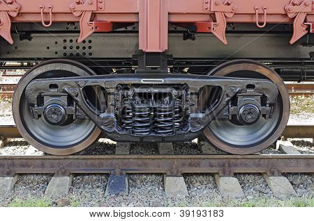 Railroad Car Wheels Close-up