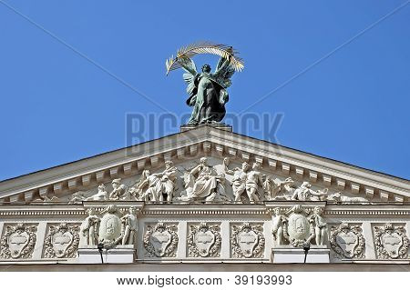 Sculpture Of Glory With A Palm Branch On The Pediment Opera In Lvov
