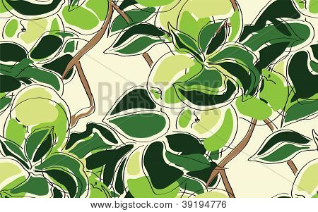 apple tree seamless background pattern