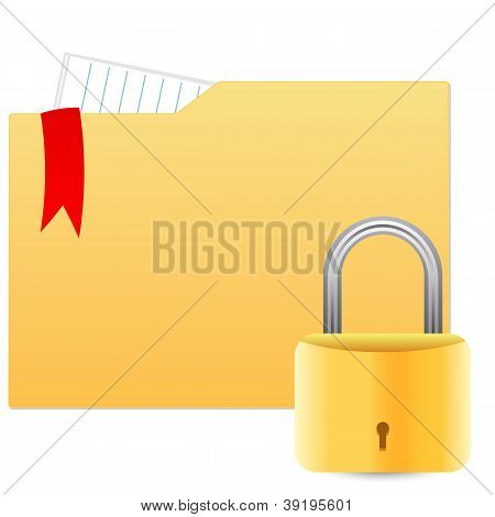 Security concept with file folder and padlock