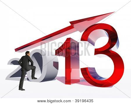 High resolution conceptual 3D 2013 year with a growing arrow isolated on white background with a business man.A metaphor for economy, finance, progress,success,improvement,holiday,new,profit designs