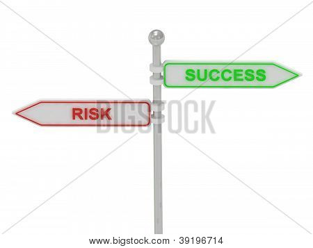 "Signs With Red ""risk"" And Green ""success"""
