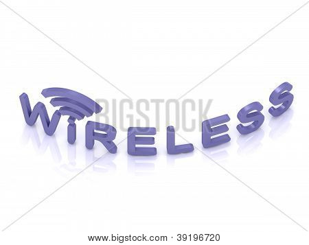 Blue Wireless Logo, 3D Render