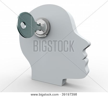 Human Head And Key