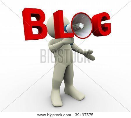 3D Man Blog Megaphone