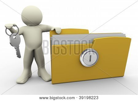 3D Man With Protected Folder