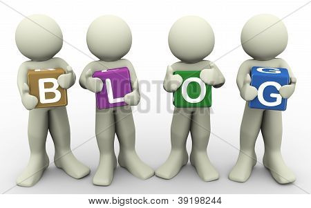3D People Holding Word Blog